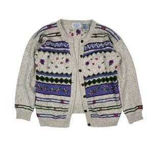 VINTAGE Cozy Knit Embroidered Cardigan